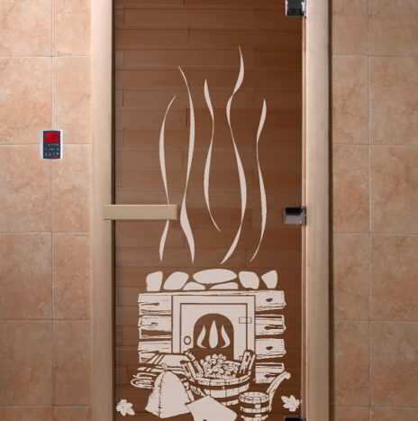 Дверь для саун «Банный день» бронза