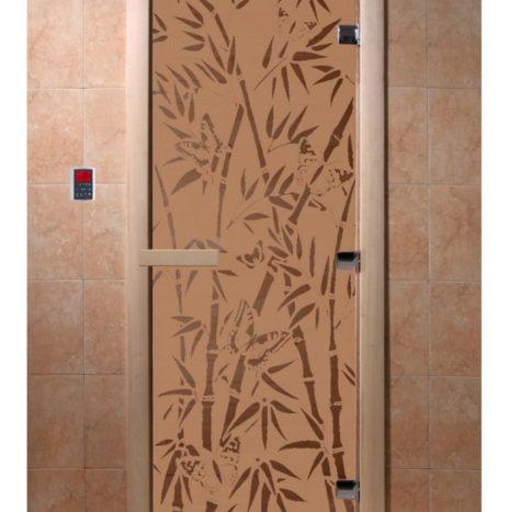 Дверь для саун серия «Бамбук и бабочки» бронза матовая