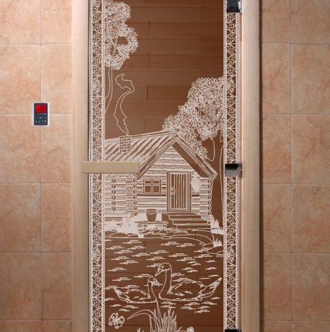 Дверь для саун  «Банька в лесу» бронза