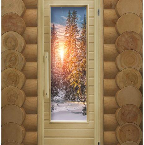 """Дверь для сауны """"Элит Зима"""" с фотопечатью, с кристалами гималайской соли"""
